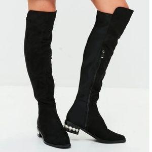 Black Pearl Heel Knee High Boots